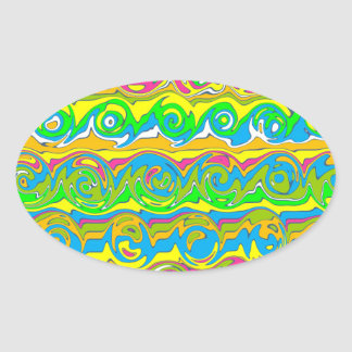 Cuckoo Abstract Swirl Oval Sticker