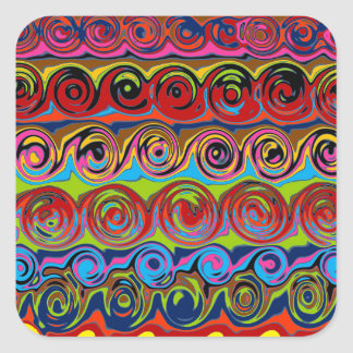 Cuckoo Abstract Swirl Square Sticker