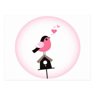 Cuckoo Bird Calling Hearts Postcard