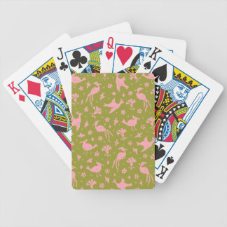 Cuckoo Birds Flight Pink & Moss Deck Playing Cards