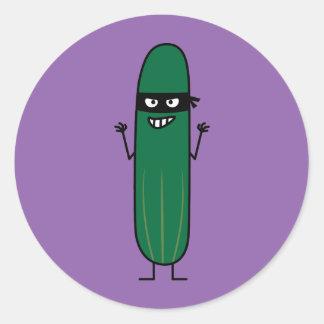 Cucumber Bandito Ninja Masked Sneaky Bandit Classic Round Sticker