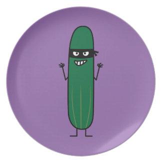 Cucumber Bandito Ninja Masked Sneaky Bandit Plate