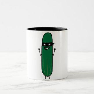 Cucumber Bandito Ninja Masked Sneaky Bandit Two-Tone Coffee Mug