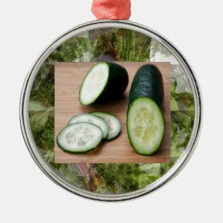 CUCUMBER Cool Minds Healthy Skin Tonic Salad foods Metal Ornament