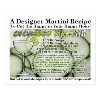 Cucumber Martini Recipe Postcard