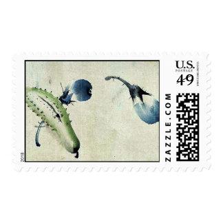 Cucumber or squash and eggplant Ukiyoe Postage