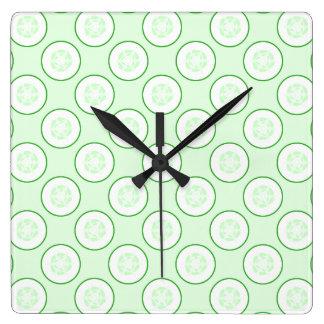 Cucumber Polka Dot Pattern. Square Wall Clock