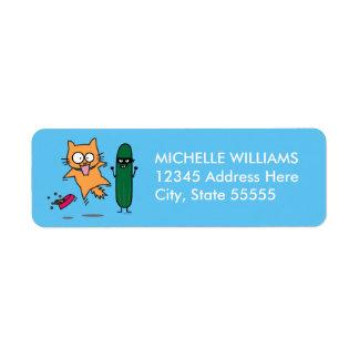Cucumber Scaring Cats - Cat versus Cucumber Scare Label