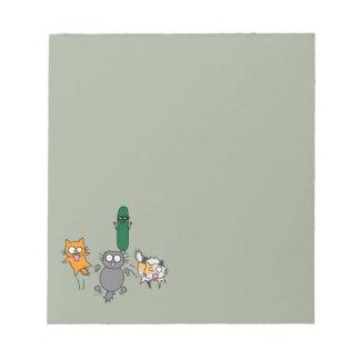 Cucumber Scaring Cats - Cat versus Cucumber Scare Notepad