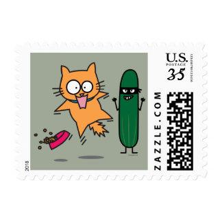 Cucumber Scaring Cats - Cat versus Cucumber Scare Postage
