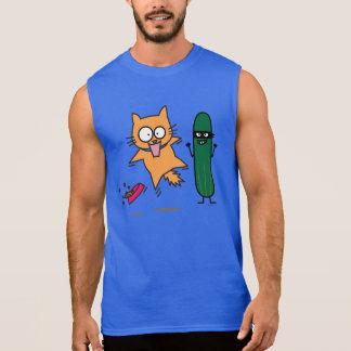 Cucumber Scaring Cats - Cat versus Cucumber Scare Sleeveless Shirt