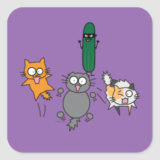 Cucumber Scaring Cats - Cat versus Cucumber Scare Square Sticker