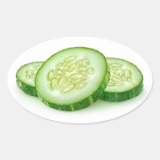 Cucumber slices oval sticker