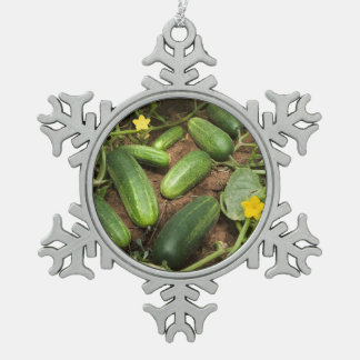 Cucumbers Snowflake Pewter Christmas Ornament