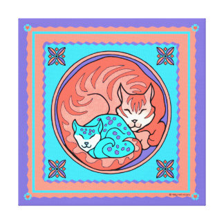 """""""Cuddle Cats"""" Wrapped Canvas Print"""