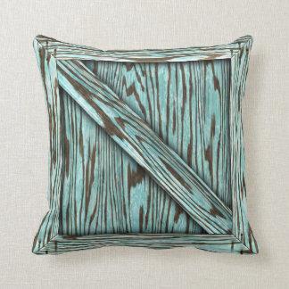 Cuddle Crate - Aqua wood Throw Pillow