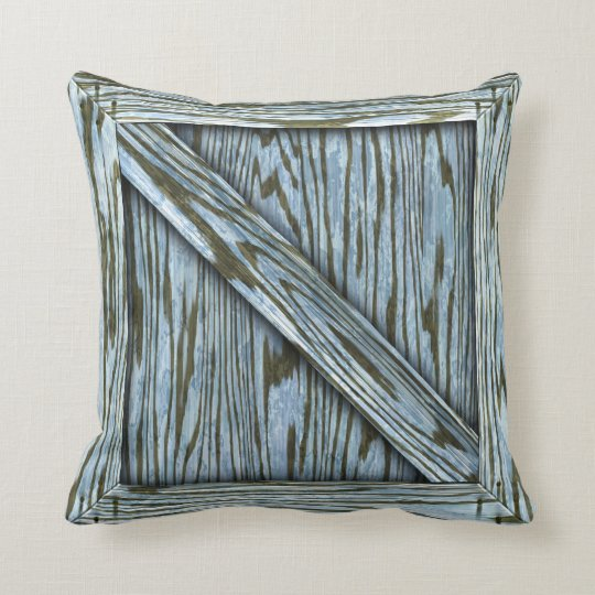 Cuddle Crate - Blue wood Throw Pillow