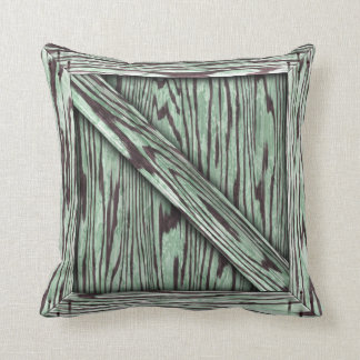 Cuddle Crate - Green wood Throw Pillow