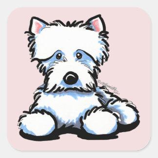Cuddle Me Westie Lilac Square Sticker