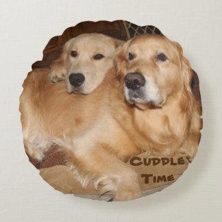 Cuddle Time Golden Retrievers Round Pillow