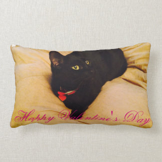 Cuddle With Betty The Cat on Valentine's Day Lumbar Pillow