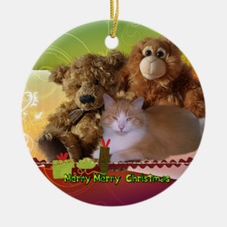 Cuddles Christmas Cat and Toys Ceramic Ornament
