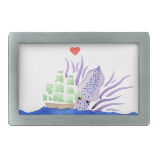 Cuddles the Kraken Rectangular Belt Buckle
