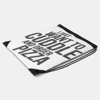 Cuddling and pizza drawstring bag