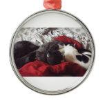 Cuddling Cats Metal Ornament