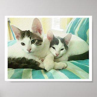 Cuddling Cat's Print