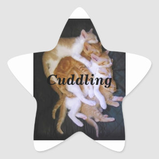 cuddling cats star sticker