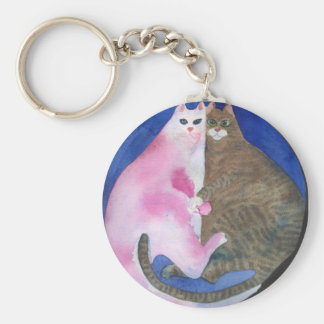 Cuddling fat cats key chain