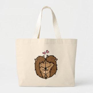 Cuddling Hedgehogs in love Tote Bags