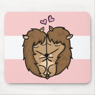 Cuddling Hedgehogs in love Mouse Pad