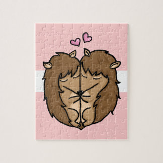Cuddling Hedgehogs in love Puzzle