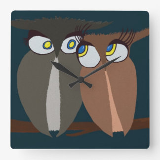 Cuddling Infatuated Owls Square Wall Clock
