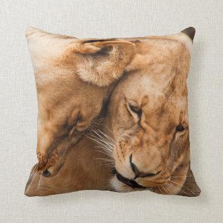 Cuddling Lions Throw Pillow