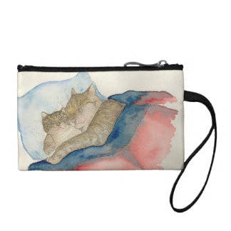 Cuddling Mother and baby kitten coin purse