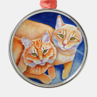 Cuddling Orange Tabby Cats Metal Ornament