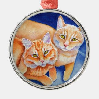 Cuddling Orange Tabby Cats Metal Ornament