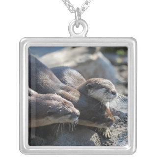 Cuddling Otters Personalized Necklace