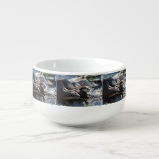 Cuddling Otters Soup Bowl With Handle