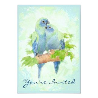 Cuddling Tropical Parrot Wedding Anniversary 5x7 Paper Invitation Card