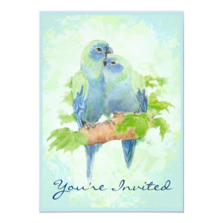Cuddling Tropical Parrot Wedding Anniversary Card