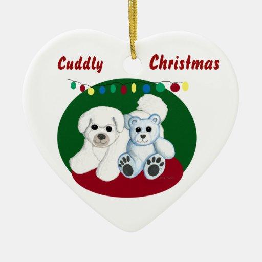 Cuddly Christmas Dog and Teddy Bear Ornament