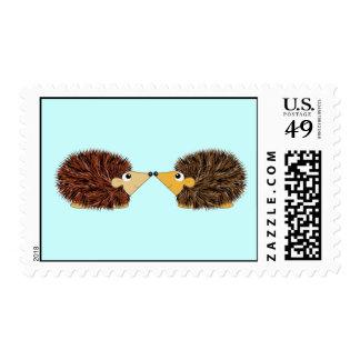 Cuddly Hedgehog Couple Postage Stamp
