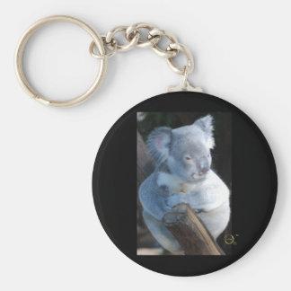 Cuddly Koala Basic Round Button Keychain