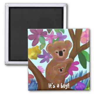 Cuddly Koala boy birth announcement 2 Inch Square Magnet