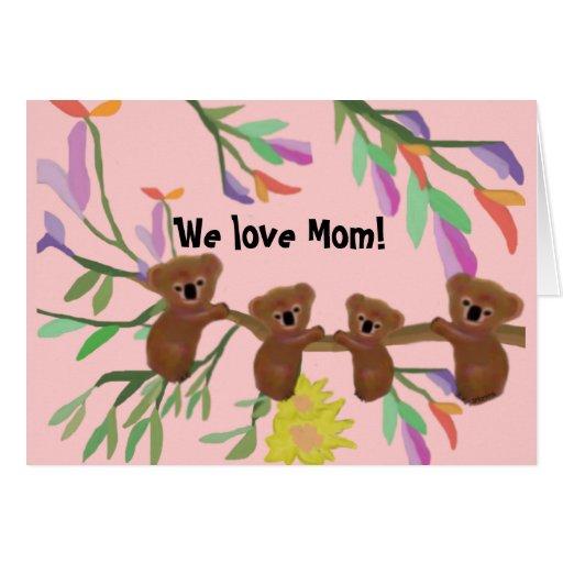 Cuddly Koala Hugs Mother's Day Card