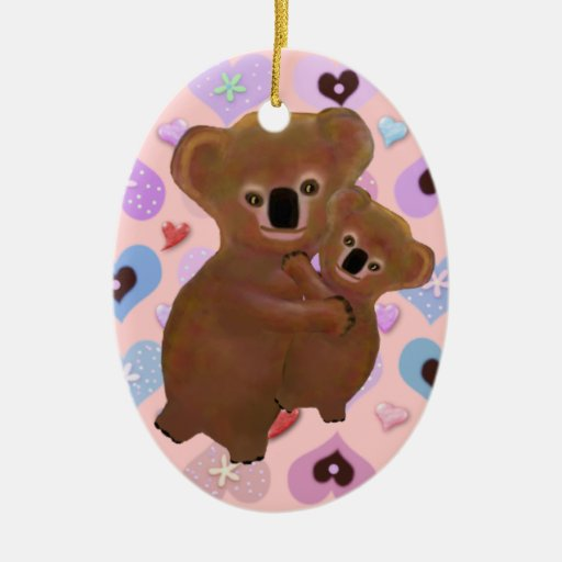 Cuddly Koala Love Double-Sided Oval Ceramic Christmas Ornament